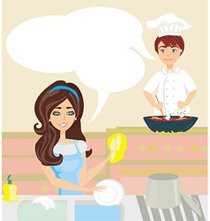 workers in the kitchen woman washes dishes man vector image