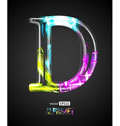 Design light effect alphabet letter d vector