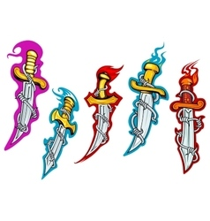 Daggers with barbed wire and fire flames vector