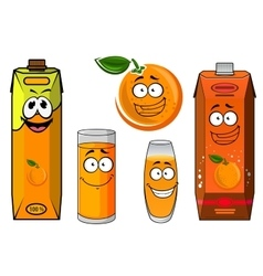 Cartoon orange juice packs with fruit vector