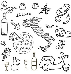Italy doodles elements hand drawn set with pizza vector