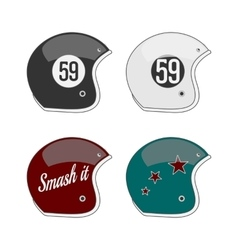 Set of four colored football helmets vector