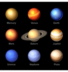 Planets of solar system icons vector