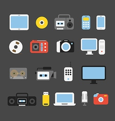 Different color media devices collection design vector
