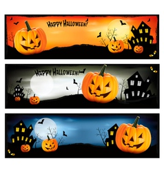 Three colorful halloween banners vector