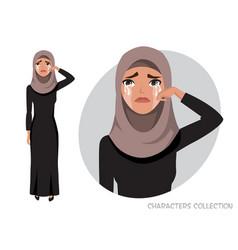 Arab woman crying vector