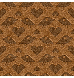 birds on leather vector image vector image
