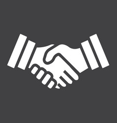 business handshake solid icon contract agreement vector image