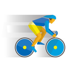 Cartoon cyclist in helmet on bike vector