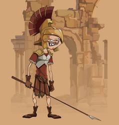 Cartoon funny man in a gladiators clothing vector