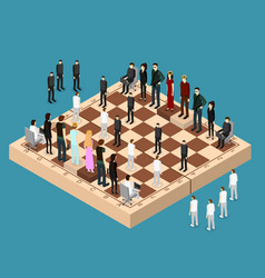 Chess people figures on a chessboard isometric vector