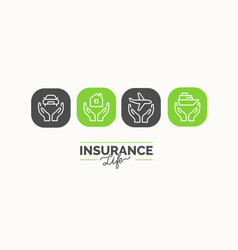 conceptual linear icons life insurance in the vector image vector image