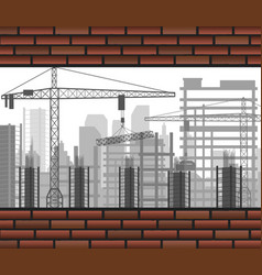 construction crane building between two brick wall vector image vector image