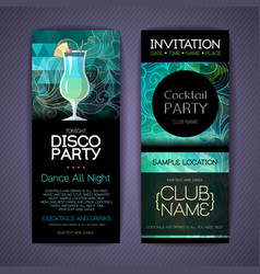 Disco cocktail identity templates disco background vector