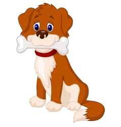 Dog cartoon with bone vector image vector image