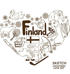 Finland symbols in heart shape concept vector image vector image