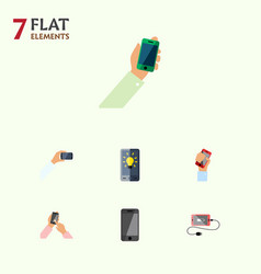 Flat icon phone set of accumulator keep phone vector