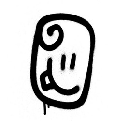 Graffiti emoticon happy face sprayed in black vector