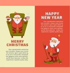 Happy new year merry christmas cartoon santa vector