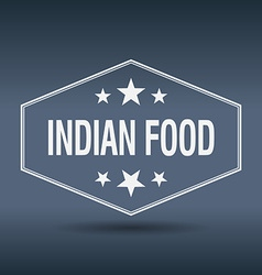 Indian food hexagonal white vintage retro style vector