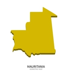 Isometric map of mauritania detailed vector