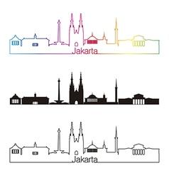 Jakarta skyline linear style with rainbow vector