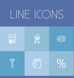 Set of 6 editable business outline icons includes vector