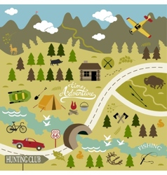Set of icons for camping and hunting vector image