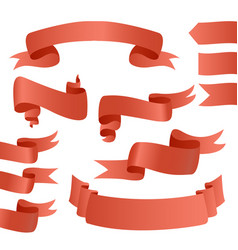 set of red ribbons for card vector image