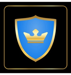 Shield gold icon with crown black vector