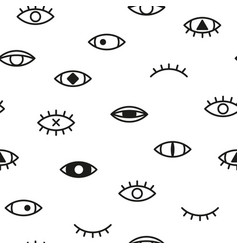 Simple seamless pattern with eyes memphis vector
