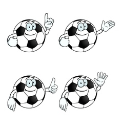Smiling cartoon football set vector image