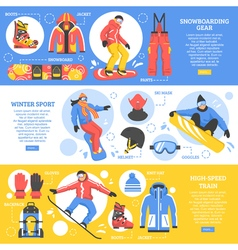 Snowboarding horizontal banners vector