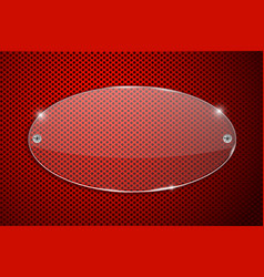 transparent glass plate on red perforated vector image vector image