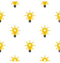 Yellow glowing light bulb pattern flat vector