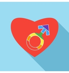 Red heart with male rainbow gender symbol icon vector