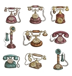 Old vintage retro phones sketch icons vector image