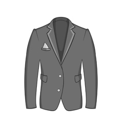 Mens jacket icon black monochrome style vector