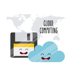 Cloud computing character icon vector