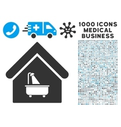 Bathroom icon with 1000 medical business vector