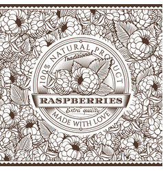 vintage raspberries label on seamless pattern vector image