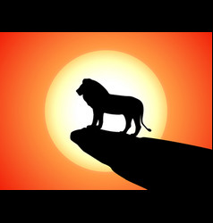 Black silhouette lion on rock cliff sunset vector