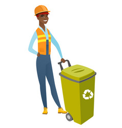 African-american builder pushing recycle bin vector