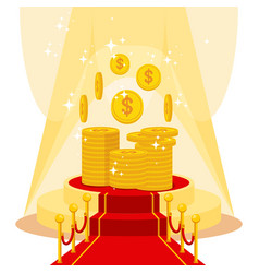 Money on red carpet vector