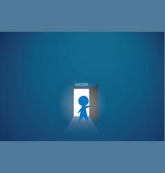 businessman open the door to find success vector image