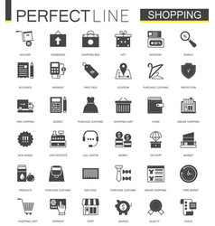 black classic shopping e-commerce web icons set vector image