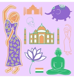 Collection elements India vector image