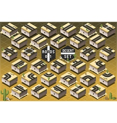 Isometric roads on desert terrain vector