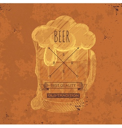 Hand drawn grunge beer background vector