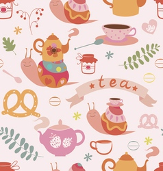 Tea and snails seamless pattern vector